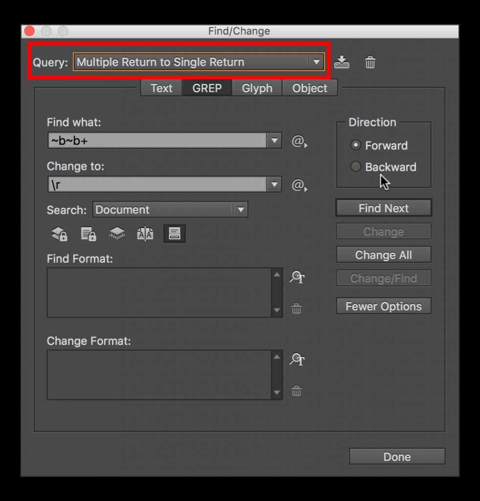 Adobe InDesign CC: Removing Extra Spaces