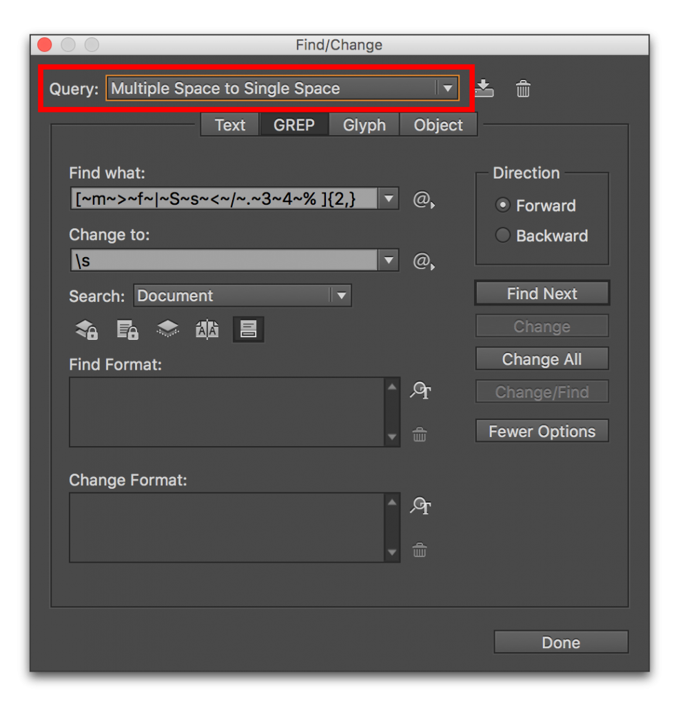 Adobe InDesign CC: Removing Extra Spaces