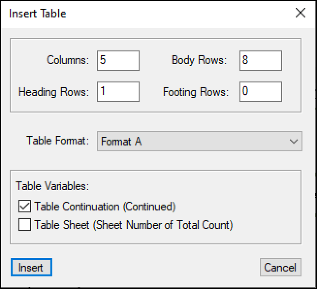 Adobe FrameMaker: Table Continuation Variable