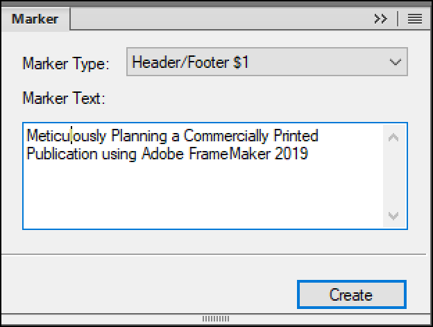 Adobe FrameMaker: Header/Footer marker