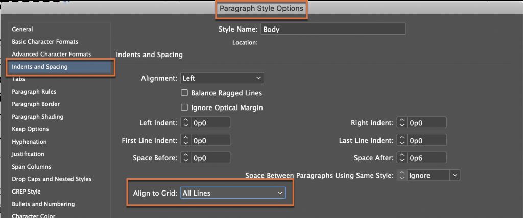 Adobe InDesign: Align to Baseline Grid