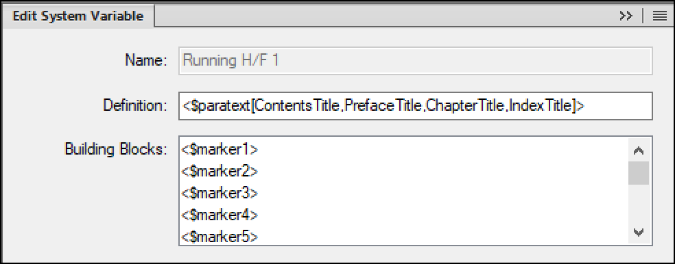Adobe FrameMaker: Running H/F Variable