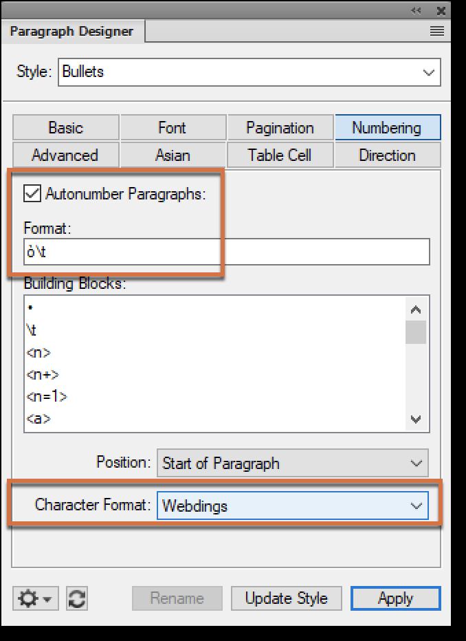 Adobe FrameMaker: Custom Bullets
