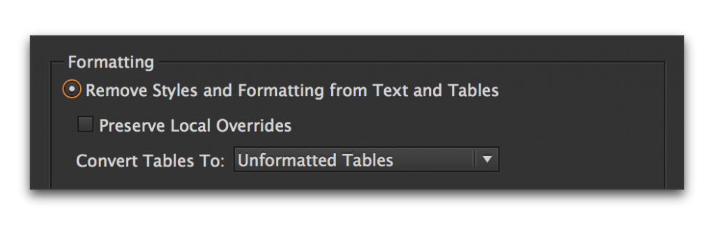 Adobe InDesign: Removing table overrides