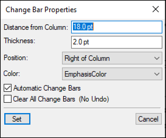 Adobe FrameMaker: Format | Document | Change Bars