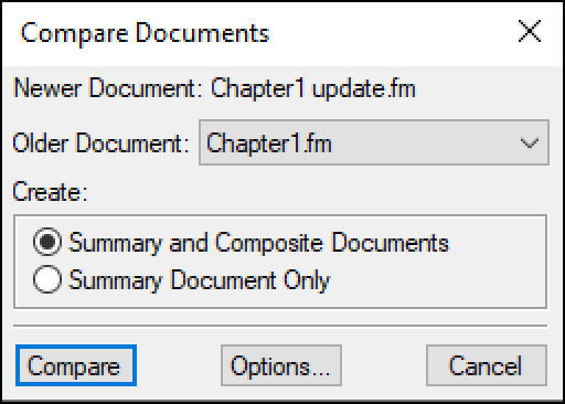 Adobe FrameMaker: File | Utilities | Compare Documents