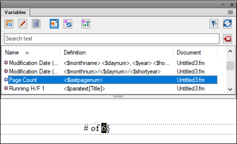 Adobe FrameMaker: Page Count Variable
