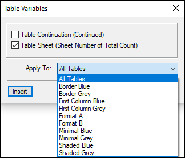 Adobe FrameMaker: Table Sheet Variable
