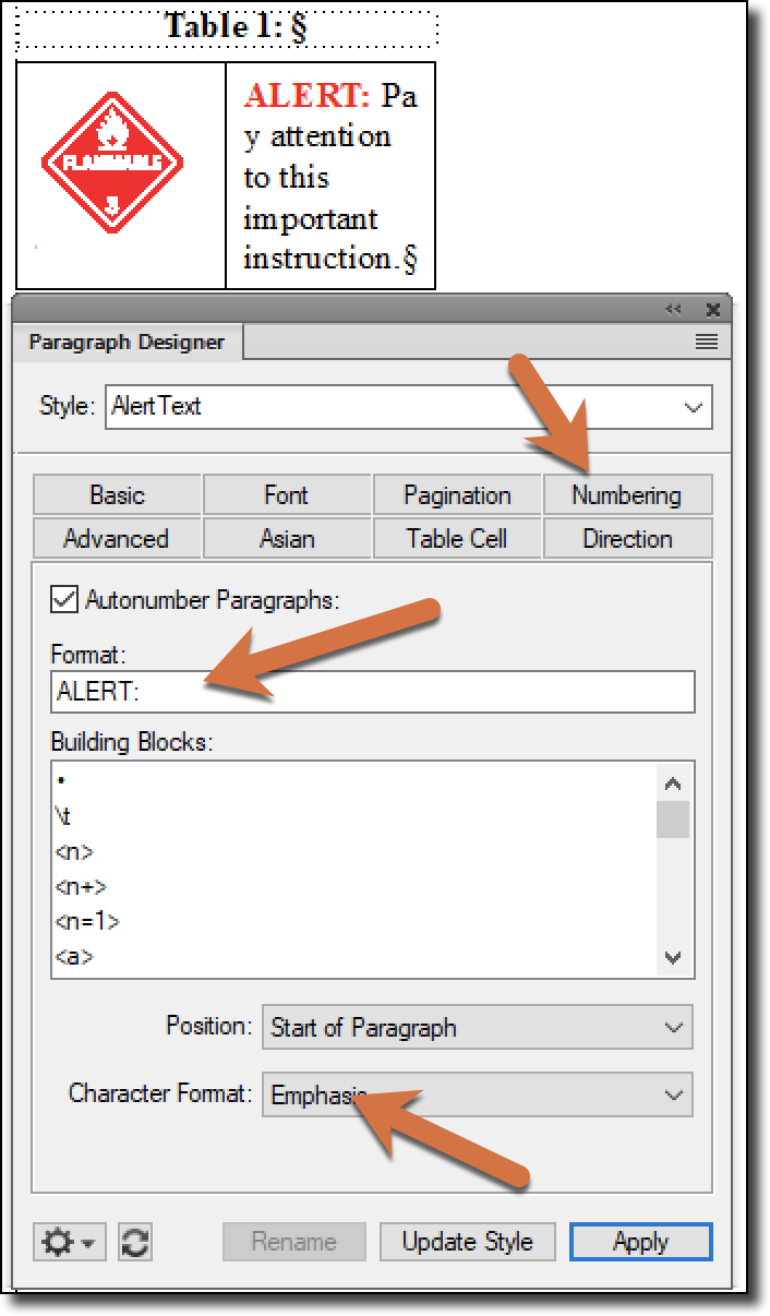 Adobe FrameMaker: Adding Icons in Front of Text