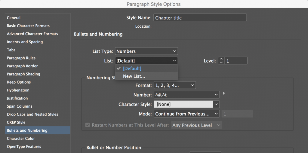 Adobe InDesign: Numbering Chapters, Subheads, Tables