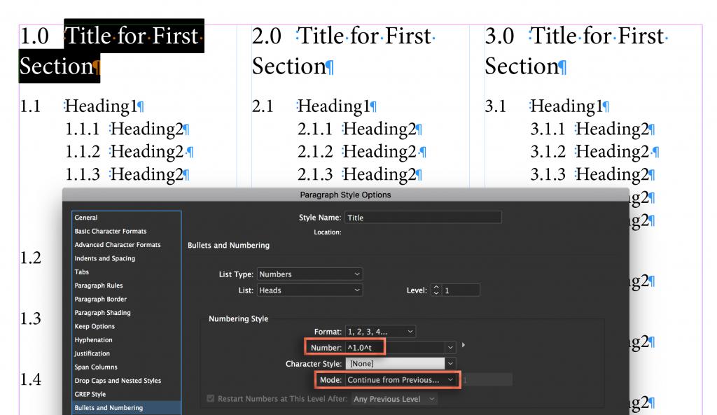 Adobe InDesign: Numbering Headings