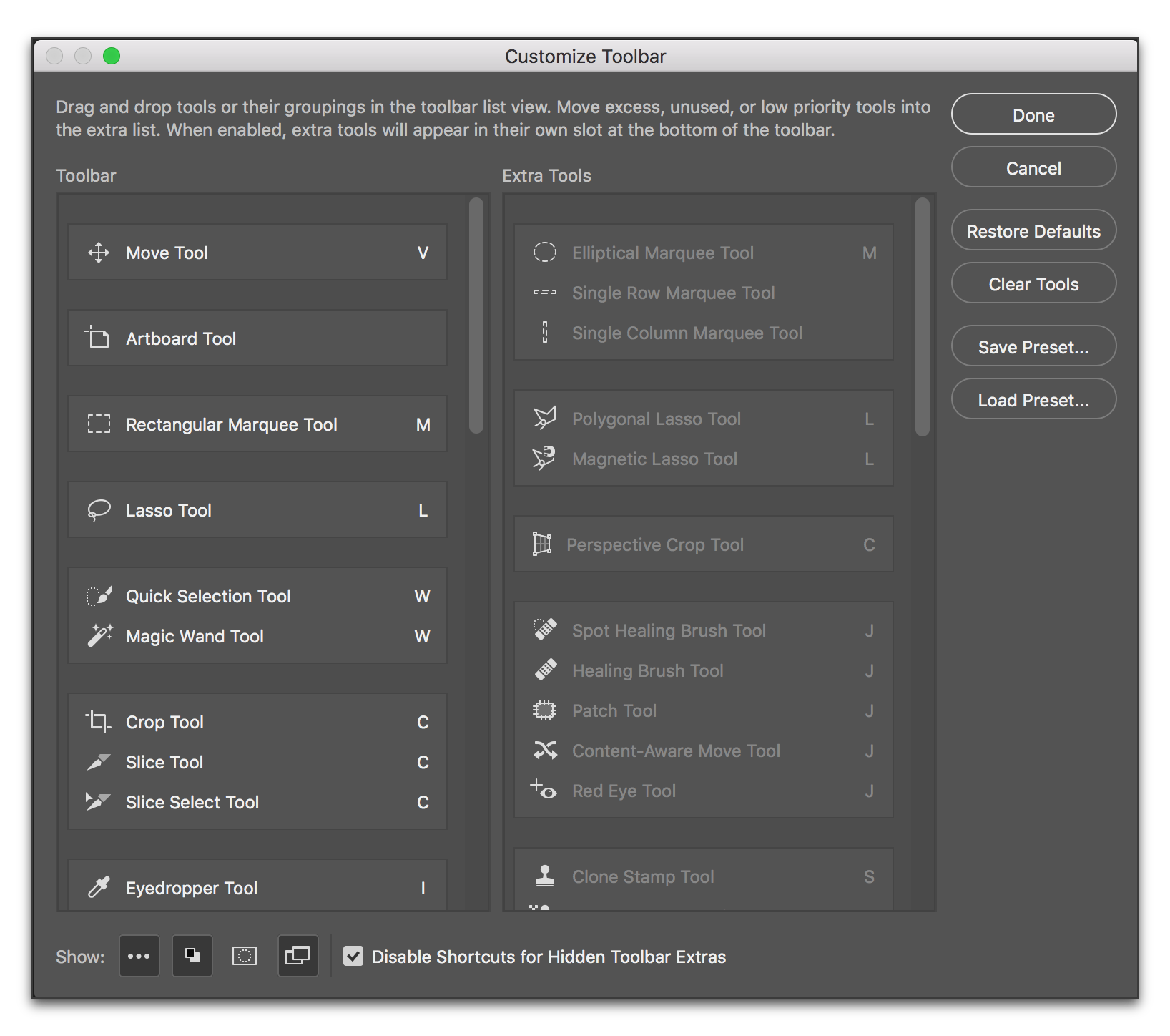 Adobe Photoshop CC 2015: Customize the Toolbar