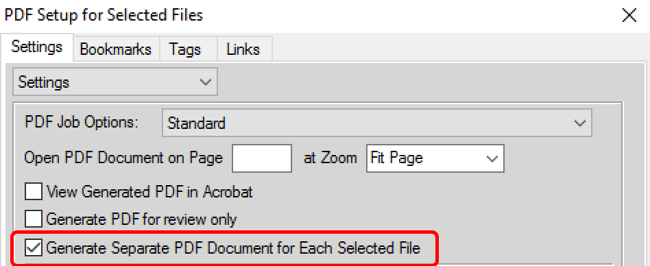FrameMaker: General separate PDF document for each selected file
