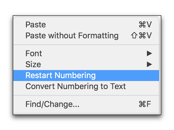 InDesign CC: Restart Numbered Lists at 1