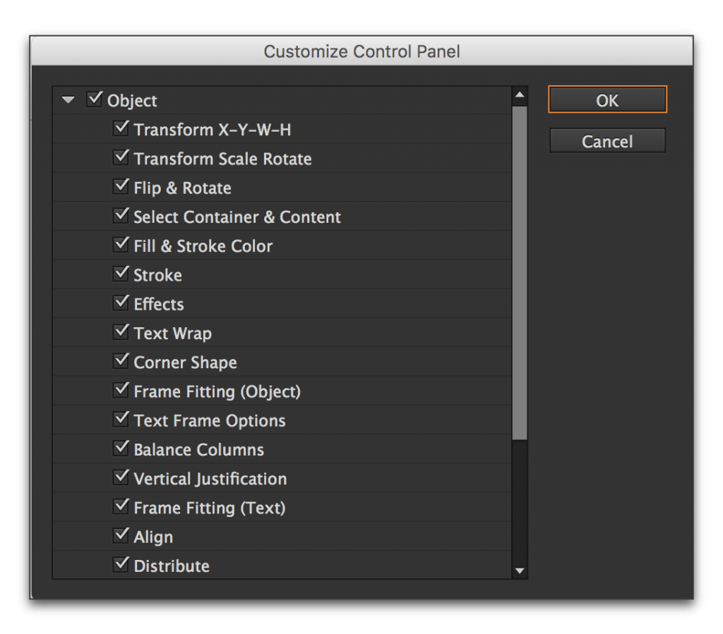 Adobe InDesign CC: Control Panel