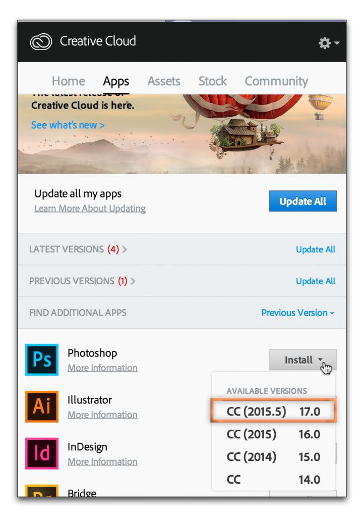 Adobe Creative Cloud: Reinstall old version