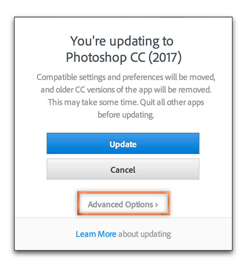 Adobe Creative Cloud: Update and keep old version