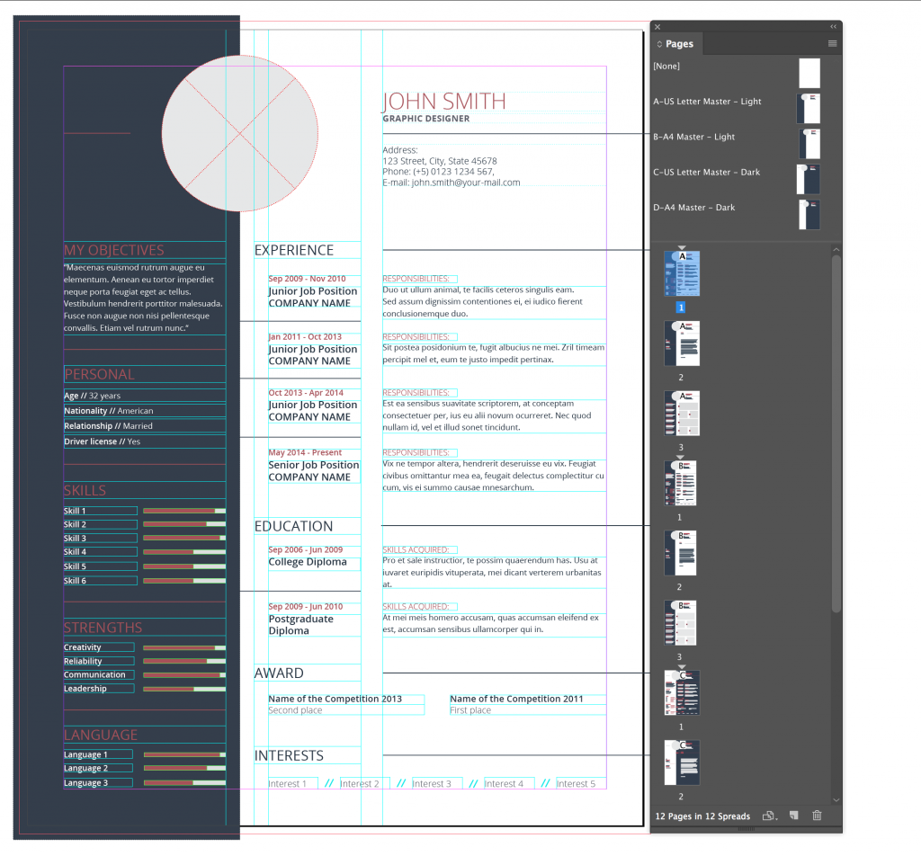 Adobe indesign i cant edit an adobe stock cv template rocky adobe indesign cc 2018 editing a stock template yelopaper Images
