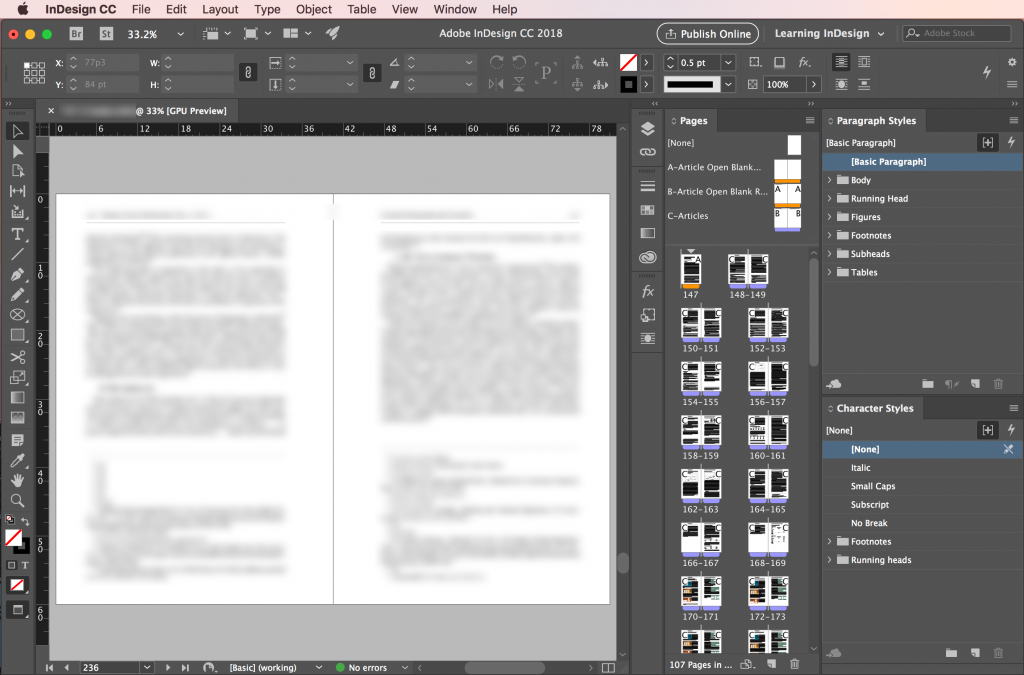 Adobe InDesign CC 2018: Workspaces