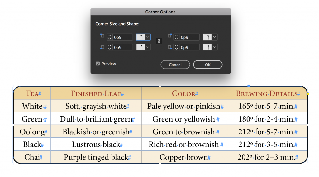 Adobe InDesign CC 2018: Round the corners of a table