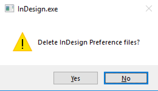 Delete InDesign Preference Files