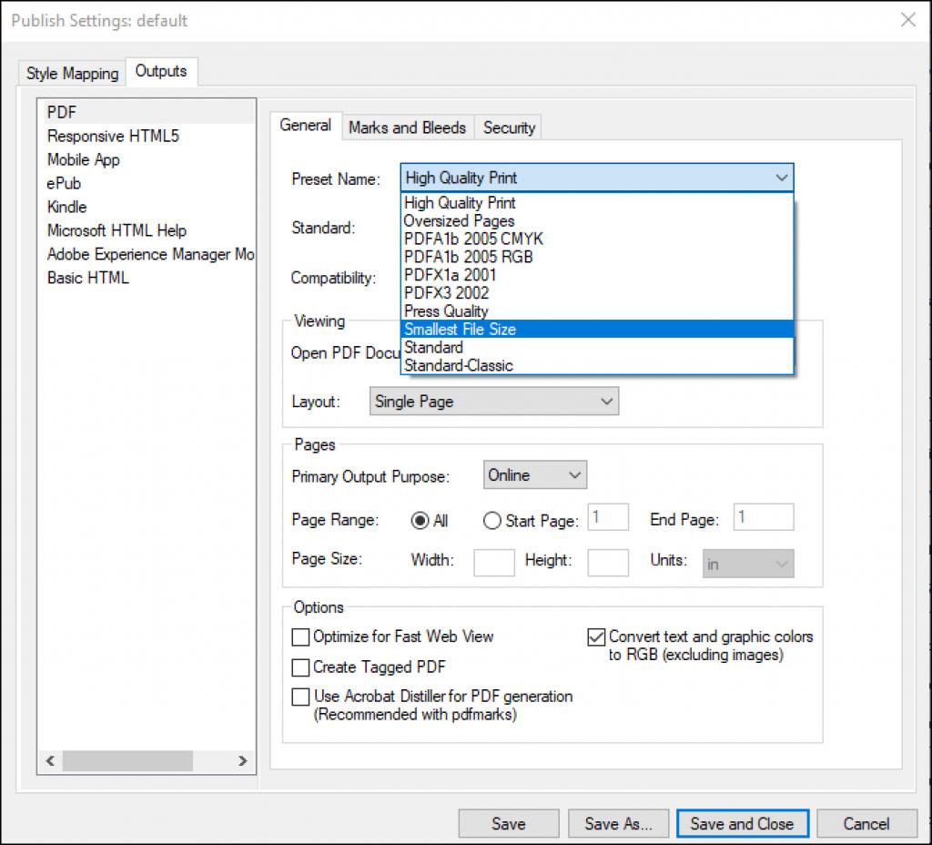 Adobe FrameMaker: Edit PDF Settings in Adobe FrameMaker 2019