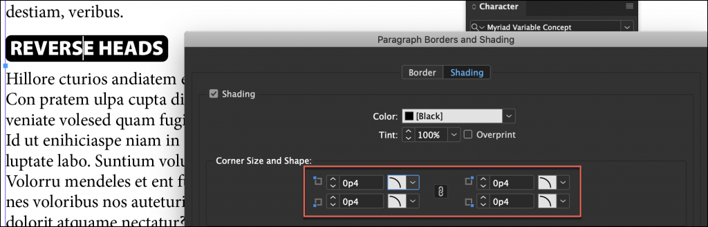 Adobe InDesign: Reverse Heads with Paragraph Shading