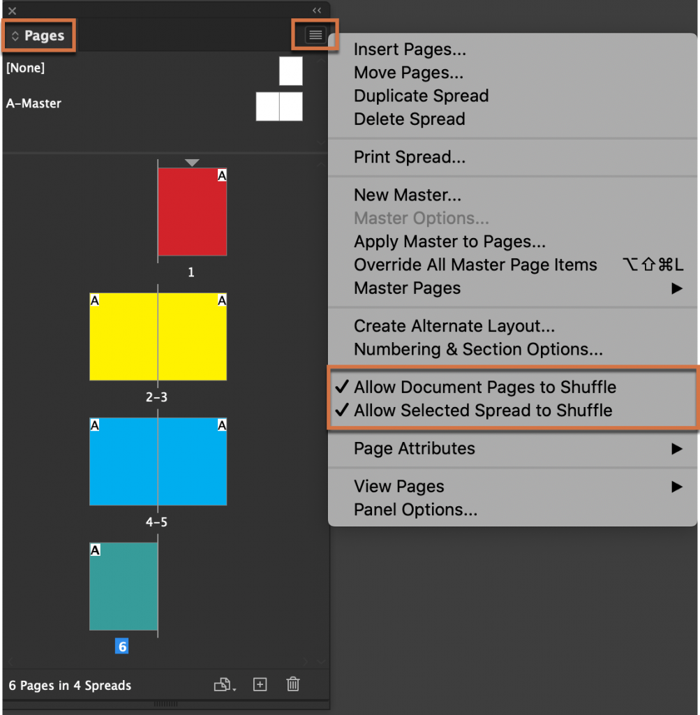 Adobe InDesign: Allow Document Pages/Selected Spreads to Shuffle