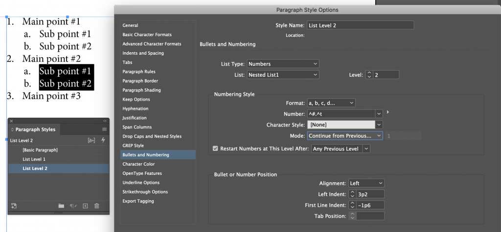 Adobe InDesign: Nested Lists