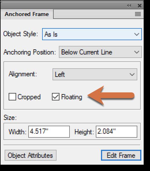 Adobe FrameMaker: Set an Anchored Frame to Float