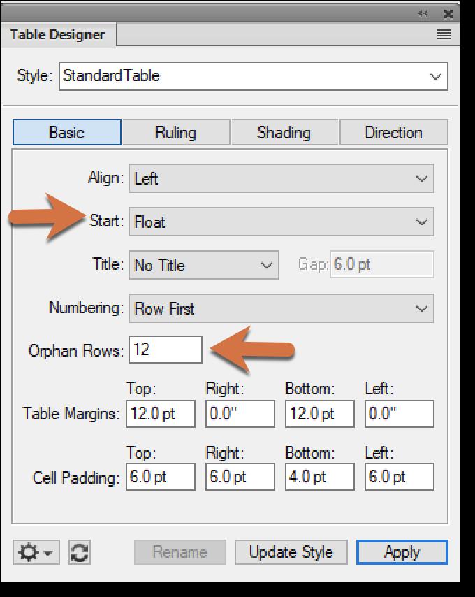 Adobe FrameMaker: Set a Table to Float